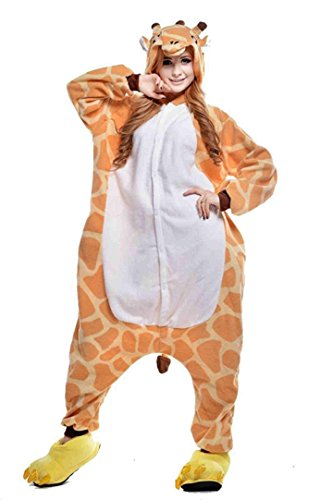 BELIFECOS Unisex Adult Pajamas Plush One Piece Cosplay Animal Costume Giraffe