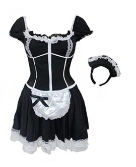 BSLINGERIE-Women-Black-French-Maid-Costume-Dress-0