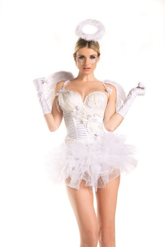 Be Wicked Women's 2 Piece 2 For 1 White Swan Angel