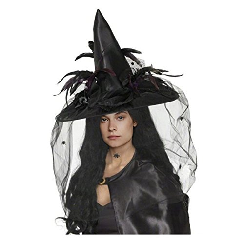 CA Mode Women Witch Hat Wizard Cap Headwear Spider Feather Halloween Costume