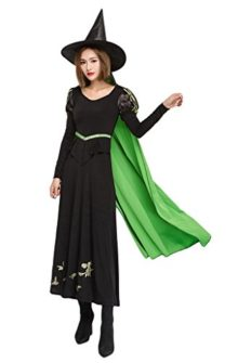 COMVIP-False-2-Pieces-Dress-Halloween-Cosplay-Witch-Costume-Hat-Set-Black-0