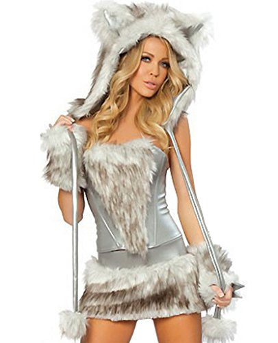 COMVIP Halloween Hairy Wolf Cat Cosplay Sexy Animal Costume