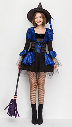 COMVIP Halloween Witch Cosplay Corset Dress 3 Pieces ...