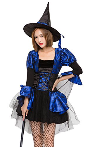COMVIP Halloween Witch Cosplay Corset Dress 3 Pieces Costumes Blue