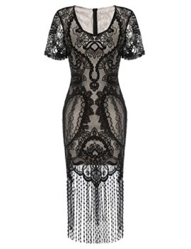 COSYOU-Womens-Pencil-Dress-Vintage-See-Through-Floral-Lace-Fringe-Cocktail-Dress-0-0