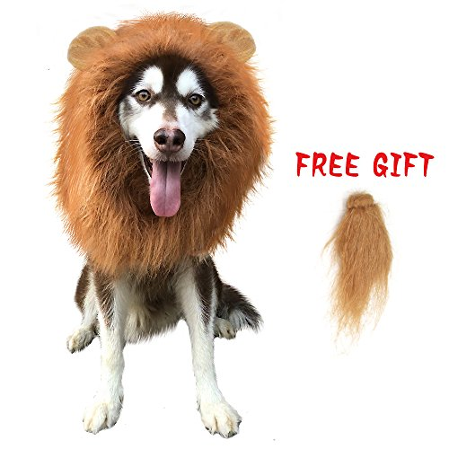 CPPSLEE Lion Mane Wig Costume – Make Your Dog Lion King – Adjustable Washable Comfortable Fancy Lion Hair Dog Clothes Dress for Halloween (Brown, With tail & ear)