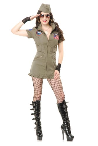 Charades Women's Tom Cat Seal Team Six Flight School Dress And Hat