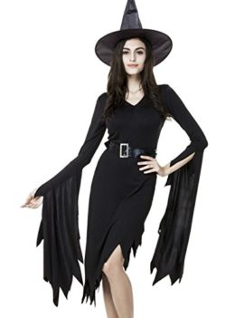 Colorful-House-Women-Halloween-Classic-Black-Witch-Costume-with-Cap-0-0