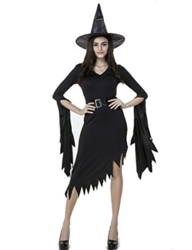 Colorful-House-Women-Halloween-Classic-Black-Witch-Costume-with-Cap-0