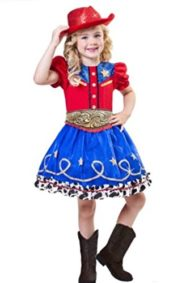 Cowgirl-Cutie-Costume-Girls-Medium-8-10-Western-Glitter-Red-Hat-3-Piece-Ruffles-0