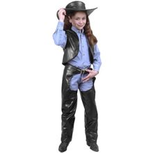 Cowgirl-Leather-Chaps-Vest-Childs-Costume-Size-Small-4-6-0
