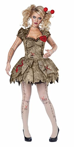 Creepy Voodoo Outfit Halloween Rag Doll Costume Adult Women