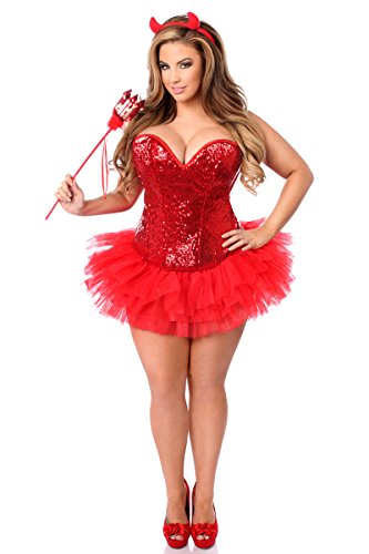 Daisy Corsets Women's Top Drawer 4 Piece Sexy Devil Corset Costume