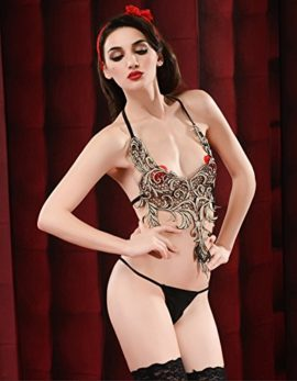 ENUOLADY-Womens-Sexy-Lingerie-Costume-Sheer-Embroidery-Traditional-Halter-Chinese-Bellyband-Dudou-Top-with-G-string-0-2