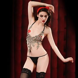 ENUOLADY-Womens-Sexy-Lingerie-Costume-Sheer-Embroidery-Traditional-Halter-Chinese-Bellyband-Dudou-Top-with-G-string-0-3