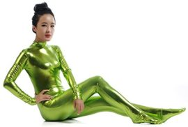 Ensnovo-Womens-Shiny-Metallic-Zentai-Suit-Wetlook-Spandex-Turtleneck-Unitard-0-2