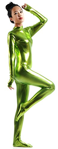 Ensnovo-Womens-Shiny-Metallic-Zentai-Suit-Wetlook-Spandex-Turtleneck-Unitard-0-3
