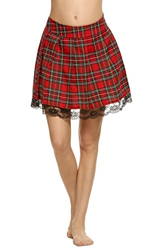 Etouji Women Schoolgirl Skirt Cosplay Lace Plaid Pleated Dress Long
