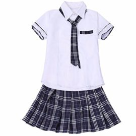 FEESHOW-Women-School-Girls-Uniform-Cosplay-Costume-Tie-Top-shirt-with-Plaid-Pleated-Skirt-Set-0-2