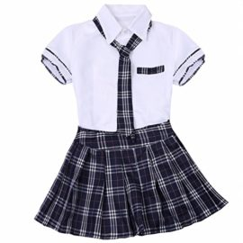 FEESHOW-Women-School-Girls-Uniform-Cosplay-Costume-Tie-Top-shirt-with-Plaid-Pleated-Skirt-Set-0-3
