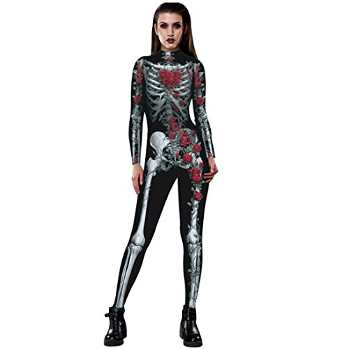 FanXing Happy Hallowen Women Rose Skeleton Movement Breathable Costume Apparel Bodysuits Fancy Clothe
