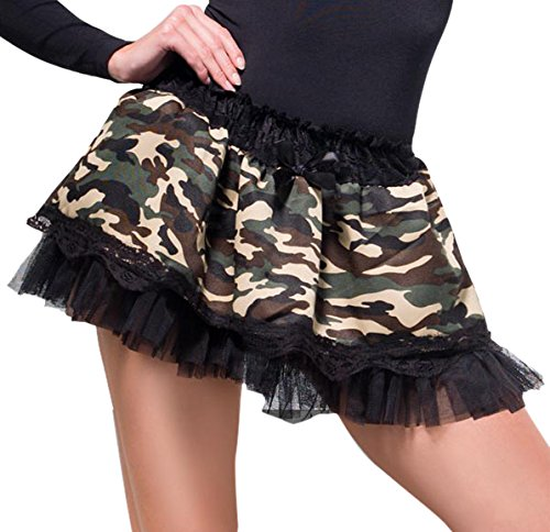 Fever Women's Camouflage Tutu Underskirt with Lace Top and Bow In Display Pack