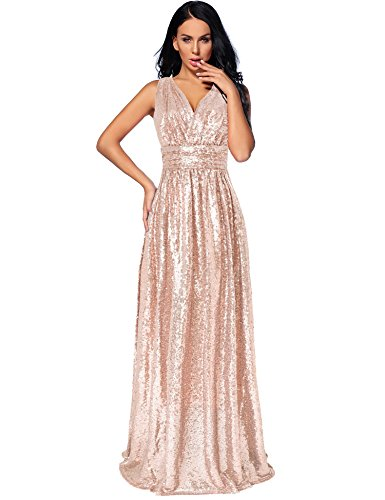 Flapper Girl Women's Sequin Bridesmaid Dress Prom Banquet Evening Formal Dresses