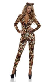 Forplay-Womens-Seductive-Stripes-Zipfront-Catsuit-with-Ears-0