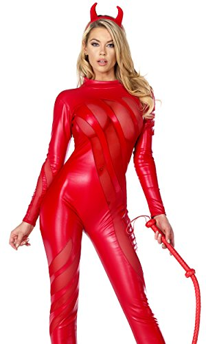 Forplay Women's Vile Vixen Matte Catsuit with Mesh Insets and Headband