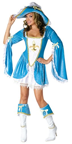 Funworld Womens Madam Musketeer Disney Sexy Blue Theme Party Halloween Costume