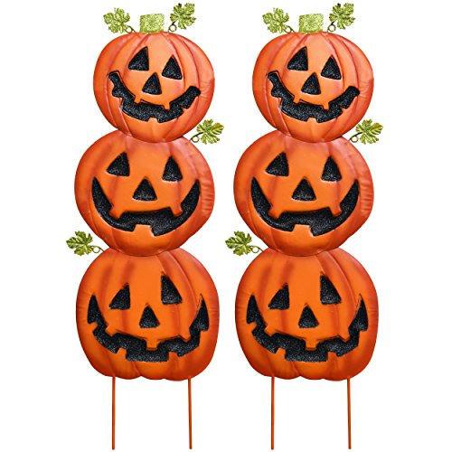 Gift-Boutique-Stacked-Metal-Halloween-Jack-O-Lanterns-Garden-Stakes-Set-of-2-Halloween-Decoration-0