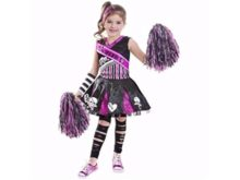 Girls-Gothic-Cheerleader-Halloween-Costume-Includes-Dress-Arm-Warmers-and-Pom-Poms-Size-L-10-12-0