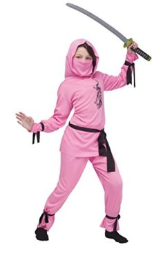 Girls-Pink-Ninja-Kids-Child-Fancy-Dress-Party-Halloween-Costume-0