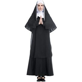 HUGGUH-Adult-Halloween-Costume-Woman-Clothing-Priests-European-Religious-Role-Play-Women-Preachers-Nun-Sister-HL89171-0