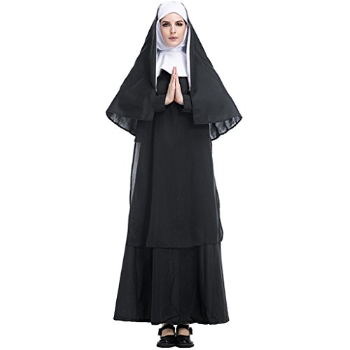 HUGGUH Adult Halloween Costume Woman Clothing Priests European Religious Role Play Women Preachers Nun Sister HL89171
