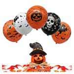 Halloween-Decorations-Balloon-100-pcs-12-Inches-Party-Balloons-Skeleton-Specter-Pumpkin-Balloons-Orange-Latex-with-a-Hand-Held-Air-Inflator-for-Halloween-Decorations-0-3