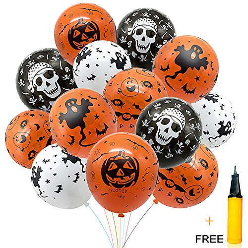 Halloween-Decorations-Balloon-100-pcs-12-Inches-Party-Balloons-Skeleton-Specter-Pumpkin-Balloons-Orange-Latex-with-a-Hand-Held-Air-Inflator-for-Halloween-Decorations-0