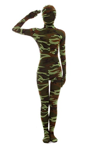 Halloween Dress Up Lycra Spandex Zentai Costume Full Printed Camouflage Cosplay Bodysuit