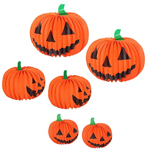 Halloween Pumpkin Paper Lantern Table Centerpiece Jack-O-Lantern Party Decorations – 6 Pack