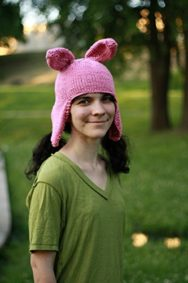 Hand-Knit-Pink-Rabbit-Ears-Hat-0