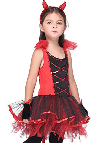 Honeystore-Girls-Devil-Costume-Halloween-Party-Kids-Dress-  sc 1 st  Halloween Costumes Best & Honeystore Girlu0027s Devil Costume Halloween Party Kids Dress up u0026 Role ...