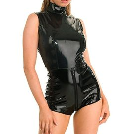 IGIG-Womens-Black-Catsuit-Costume-Wetlook-Double-Zipper-Front-Crotch-Cosplay-Bodysuits-0