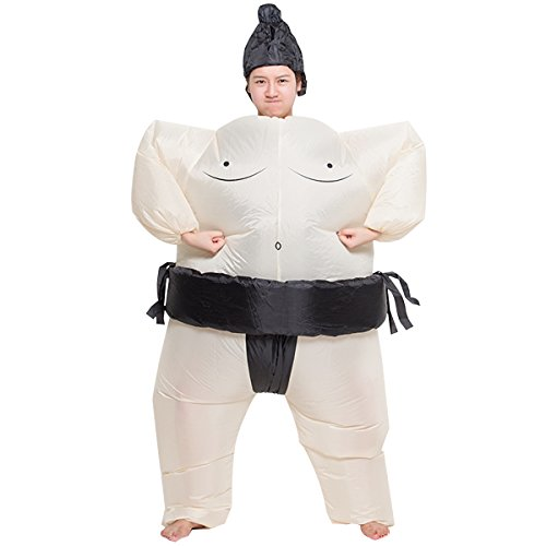 Inflatable Sumo Sumou Wrestler Cosplay Costume Halloween Funny Fancy Dress Blow Up Suit
