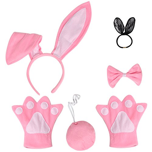 JustinCostume Bunny Cosplay Set Ears Tail Bowtie Paws Hair Tie