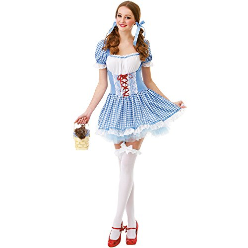 Kansas Belle Women's Halloween Costume Sexy Dorothy of Oz Blue Checkered Dress