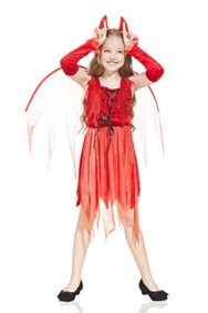 Kids-Girls-Little-She-Devil-Demon-Costume-Halloween-Party-Gothic-Goth-Dress-Up-0