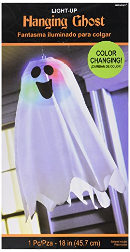 LED Light Up Friendly Ghost Halloween Trick or Treat Party Hanging Decoration, Fabric, 18″ x 6″.