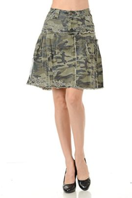 LUCY-collection-ladies-Sexy-A-line-Ruffled-Army-camo-Camouflage-jean-skirt-0-2