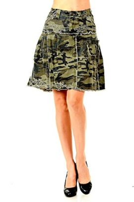 LUCY-collection-ladies-Sexy-A-line-Ruffled-Army-camo-Camouflage-jean-skirt-0