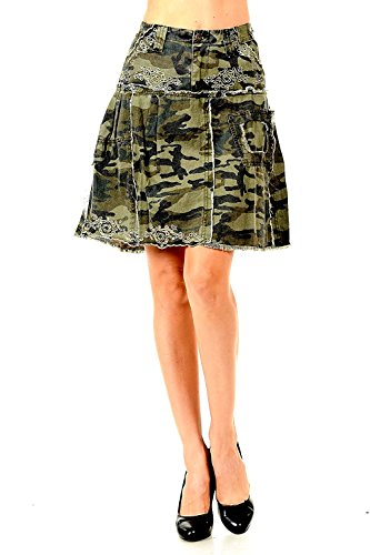 LUCY collection ladies Sexy A-line Ruffled Army camo Camouflage jean skirt